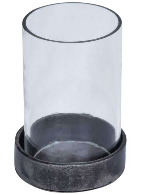 Ljuslykta i glas och järn