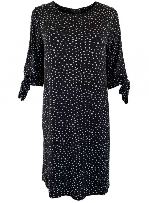 Damklänning i bambu svart med grå prickor