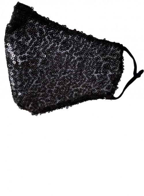 Ansiktsmask i bomull, Black Sequin från Black Colour